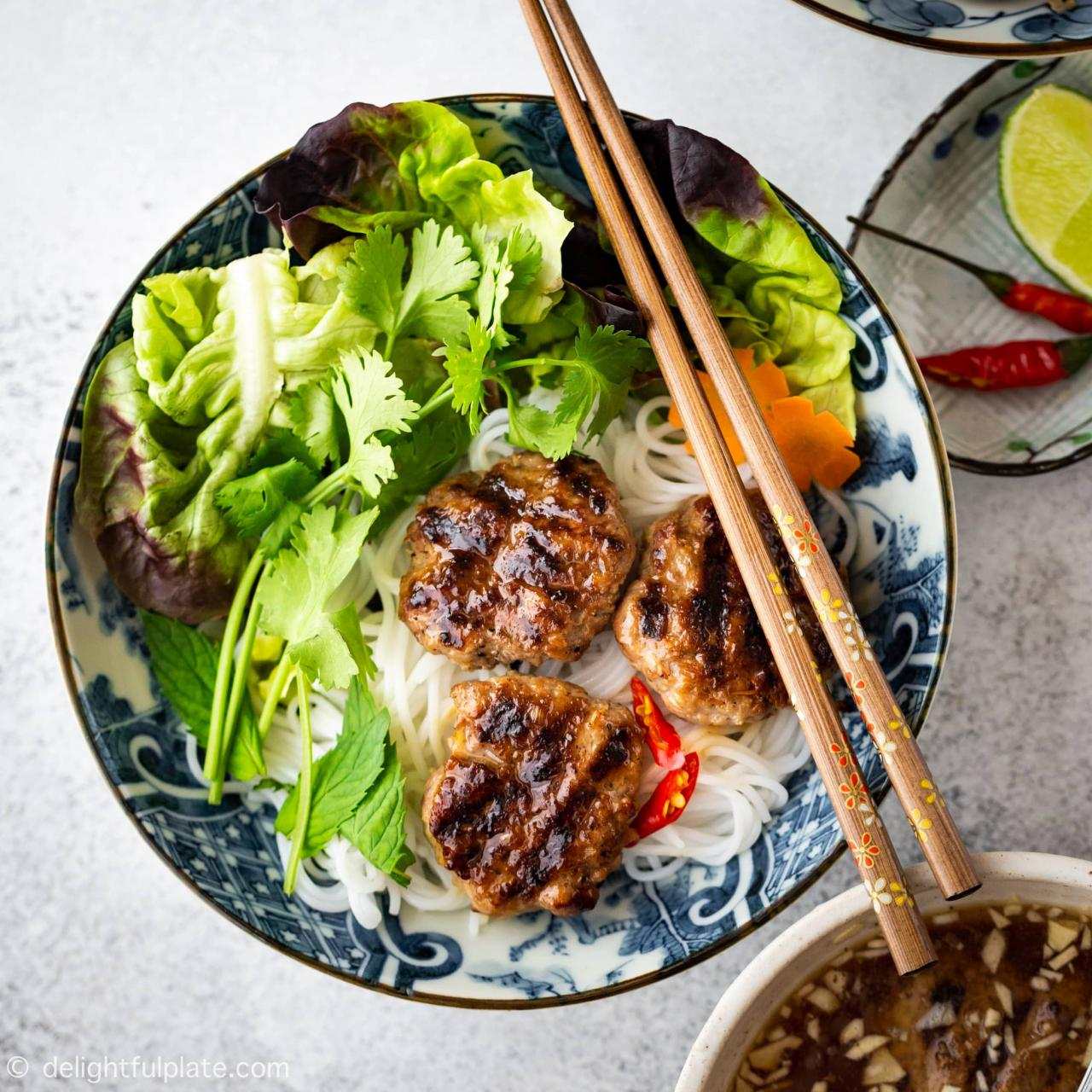 Authentic Bun Cha - Vietnamese Grilled Pork Meatballs with Noodles - Delightful Plate